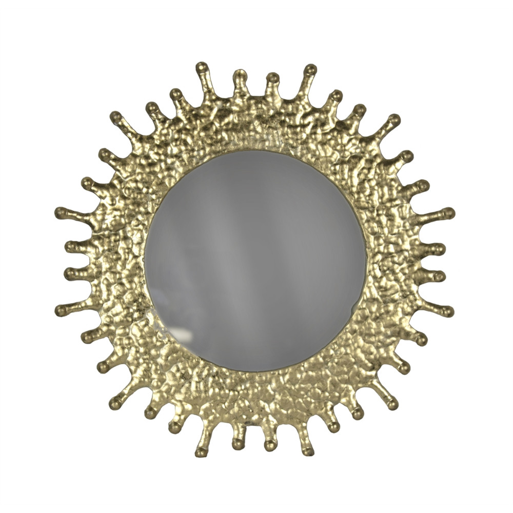 Radial Rays Round Metal Framed Decorative Mirror, Gold