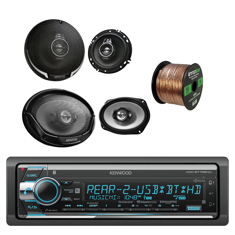 Kenwood Single Din CD/AM/FM Car Audio Receiver W/Bluetooth with Kenwood Performance Series 5-Way 6.9 Inch Speakers Pair, Kenwood 3-Way 6.5 Inch Car Speakers Pair & Enrock Audio Speaker Wire