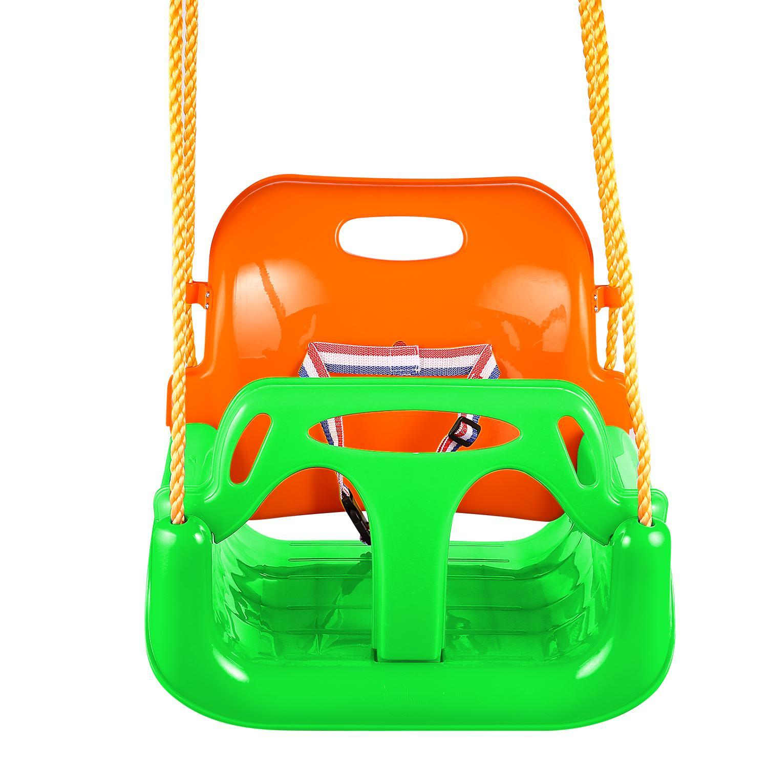 3 In 1 High Back Toddler Swing Baby Outdoor Swing Seat Seat Heavy Duty Chain Playground Swing Set HFON