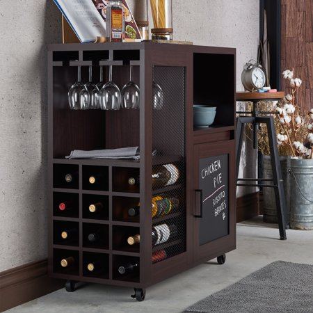 Furniture of america ponne industrial chalkboard walnut for How to build a mini bar cabinet