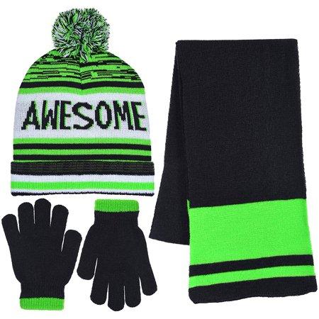 Polar Wear - Polar Wear Boy s 3 Piece Knit Hat 286775ddbca