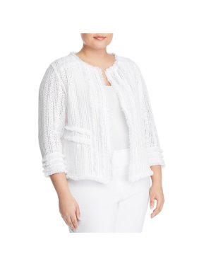 Nic + Zoe Womens Plus Playful Knit Fringe Jacket