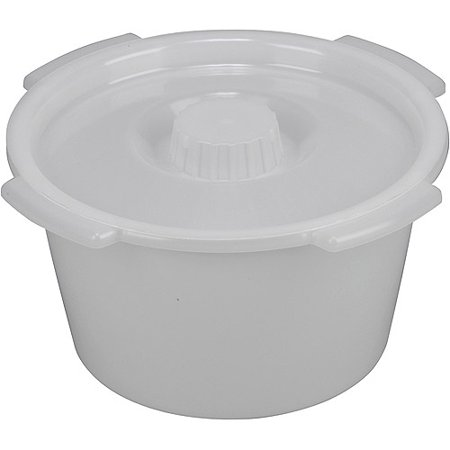 DMI Universal Plastic Bucket Toilet with Lid and Side Handles, Bedside Commode Bucket Replacement, Pail with Lid, 7 qt.