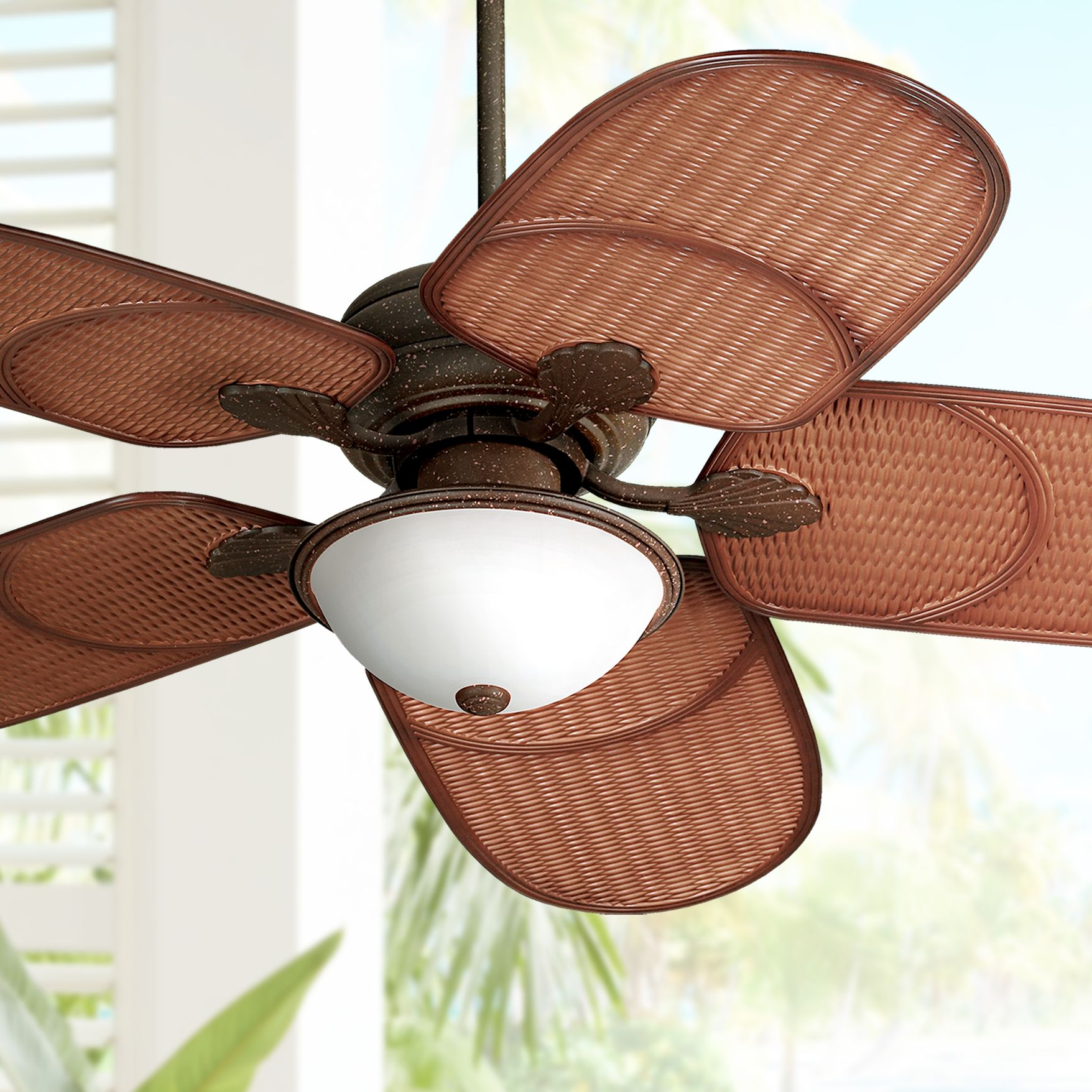 """Tropical Outdoor Ceiling Fans Tropical Exterior Ceiling: 52"""" Casa Vieja Tropical Outdoor Ceiling Fan With Light"""