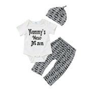 3PCS Infant Baby Boys Newborn Mommys New Man Romper Jumpsuit + Long Pants + Hat Clothes Outfits Sets 0-18M
