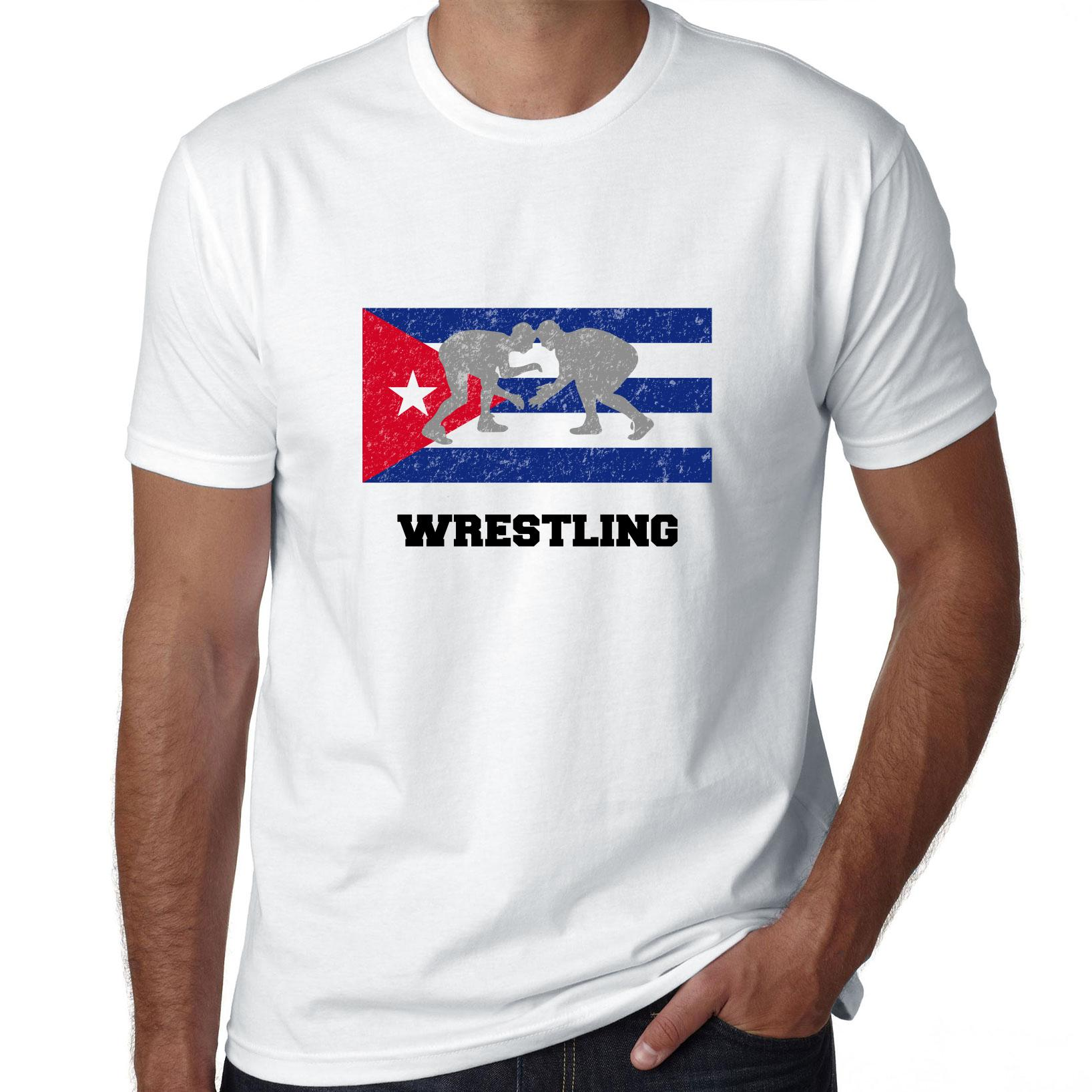 Cuba Olympic Wrestling Flag SilhouetteYou Men's T-Shirt by Hollywood Thread