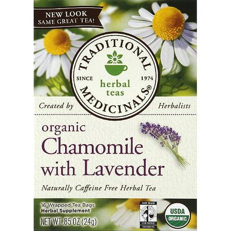 TRADITIONAL MEDICINALS Camomille Bio avec de la lavande caféine Tisane, 0,85 oz (Pack de 6)