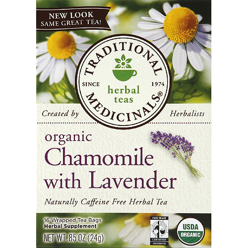 Traditional Medicinals Organic Chamomile with Lavender Caffeine Free Herbal Tea, 0.85 oz, (Pack of 6)