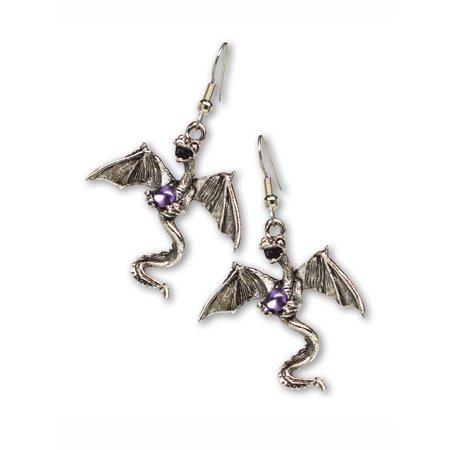 Pewter Dangle Pierced Earrings - Mystical Dragon Pewter Dangle Earrings Medieval Renaissance Jewelry by Real Metal Jewelry