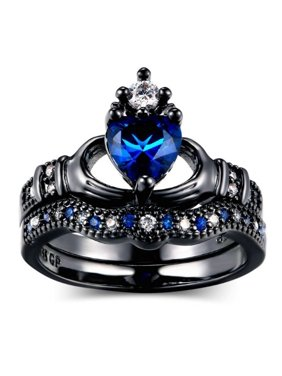 AkoaDa Couple Rings Romantic Engagement Wedding For Men Women Crown Jewelry Stainless Steel Ring Sets