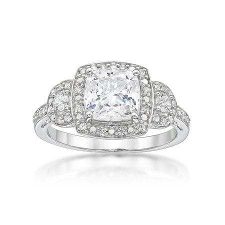 Sterling Silver Simulated Diamond Cushion 3 Stones Ring
