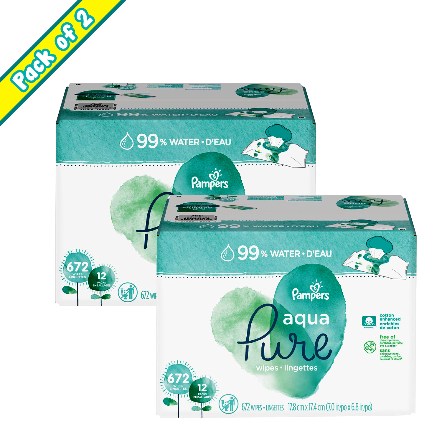Pampers Aqua Pure Baby Wipes (672 ct.) - (PACK OF 2)