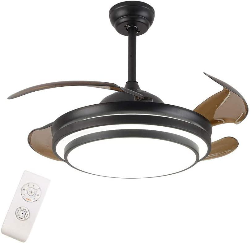 42 Modern Led Invisible Ceiling Fan Lights And Remote 4 Retractable Brown Blades Chandelier Fan Lighting For Home Indoor Bedroom Diningroom Livingroom Black Walmart Com Walmart Com
