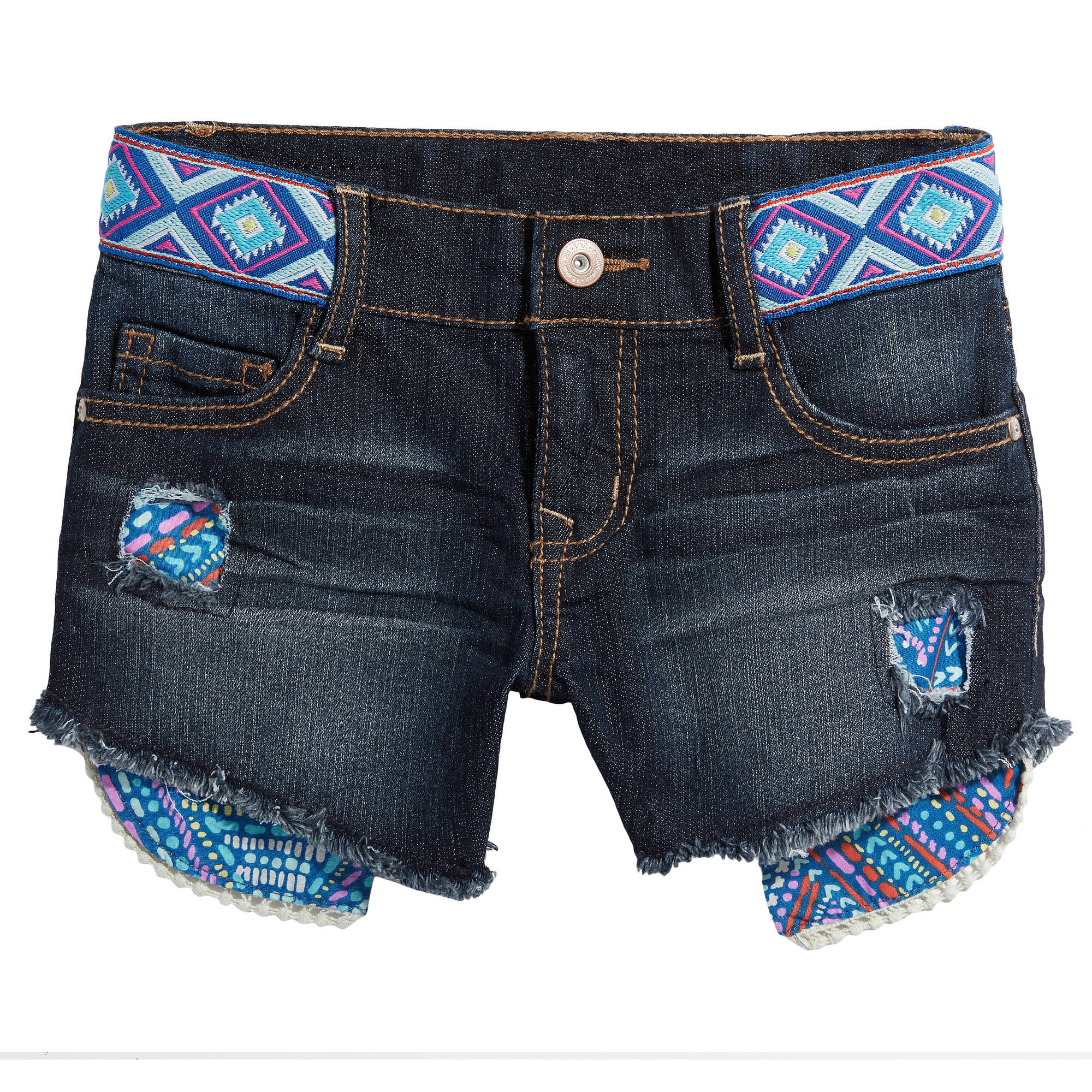 LEI Girls' Aztec Waistband Denim Shorts