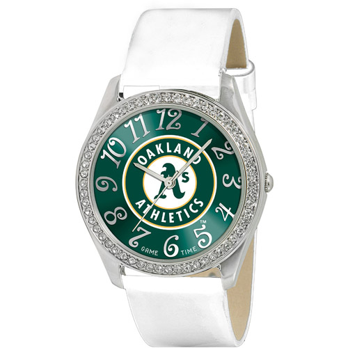 Game Time MLB Women's Oakland Athletics Glitz Watch, Silver