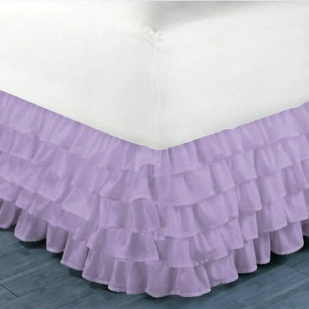 "Gypsy Queen Lilac Ruffled Bed Skirt  Wrap Around Layered Solid Bed Dust Ruffle 20"" Inch Drop"