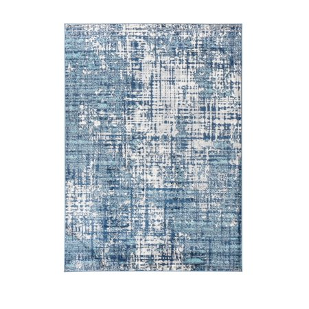 Hampton Collection Modern Washed Navy Blue White Area Rug