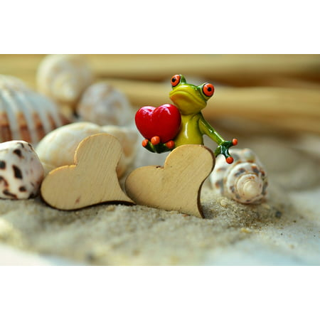 Sand Frog - Canvas Print Frog Valentine's Day Funny Heart Sand Wood Stretched Canvas 10 x 14