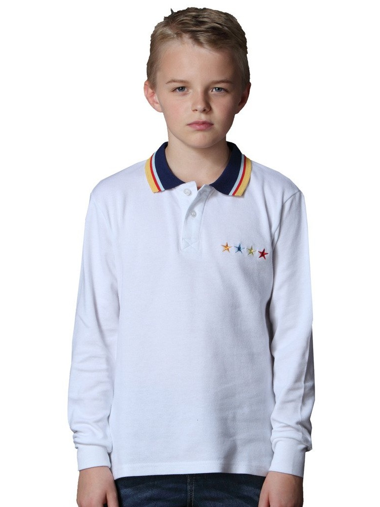 Leo&Lily Big Boys' Long Sleeve Cotton Casual Lapel Polo Shirt