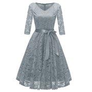 Vintage Women 1950s Crochet Lace Pleated Dress V Neck 3/4 Sleeve Belt Evening Party Swing Dress