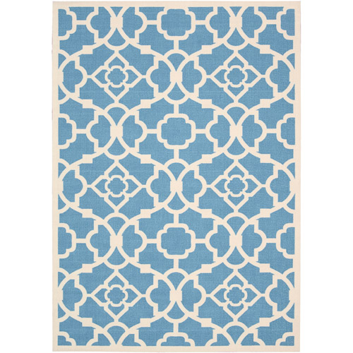 Nourison Waverly Sun N' Shade Polyester Indoor/Outdoor Rug, Azure