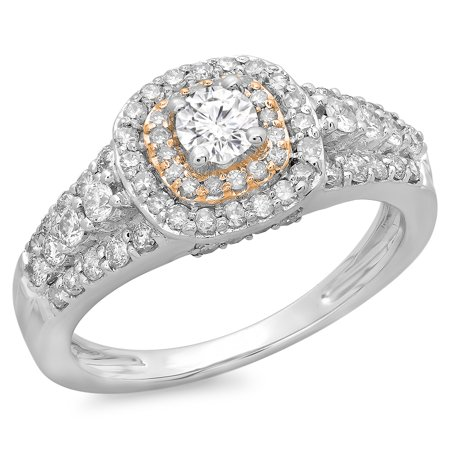 Dazzlingrock Collection 1.00 Carat (ctw) Two Tone Rose Gold Plated 14K Round Diamond Engagement Ring 1 CT, White Gold, Size 9