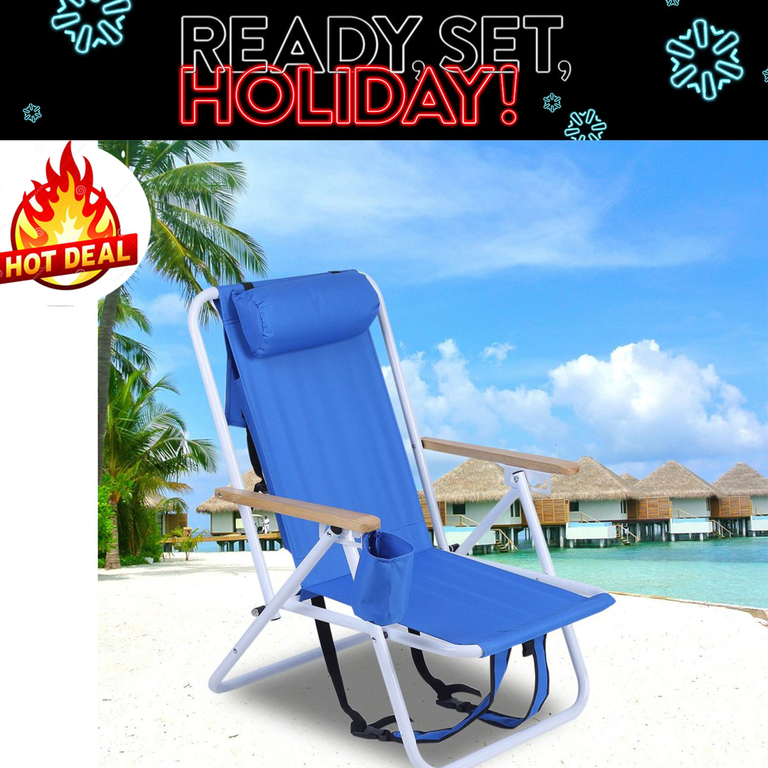 Folding Chairs For Outdoors Folding Backpack Beach Chair With Cup Holder Portable 600D Polyester Fabric Chair Adjustable Outdoor Furniture(One Piece)