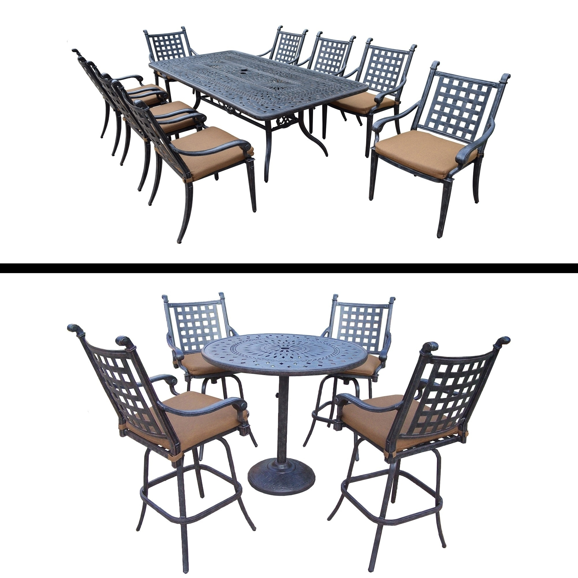 Oakland Living 5 Pc Bar Set, 4 Swivel Bar Stools and 9 Pc Dining Room Set with 8 Chairs by Overstock