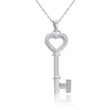 Sterling Silver and Diamond Key to Your Heart Pendant Necklace 18 in.