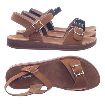Reform9 by Forever Link, Comfortable Flatform Open Toe Sandal w Rubber Outsole & Ankle Strap
