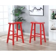 """Set of 2 Heavy Duty Saddle Seat Bar Stools Counter Stools - 29"""" Red"""
