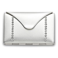 Silver-tone with Crystals Envelope Mirror Compact - Engravable Gift Item