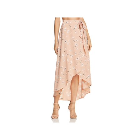 Floral Print Wrap Skirts - PPLA Womens Sophina Floral Print Hi-Low Wrap Skirt