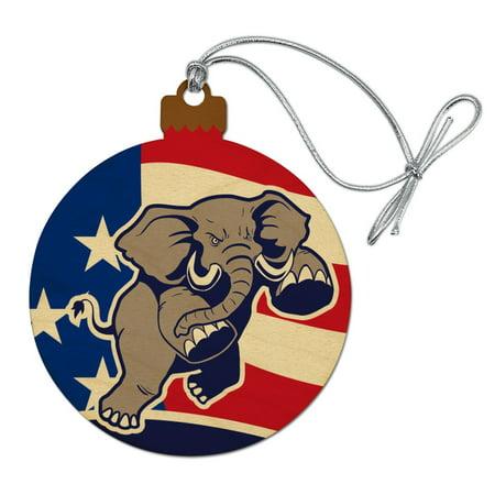 Angry Republican Elephant Politics GOP American Flag Wood Christmas Tree Holiday Ornament