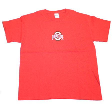Ohio State Buckeyes Child Embroidered Red T-Shirt (Medium) Ohio Embroidered T-shirt