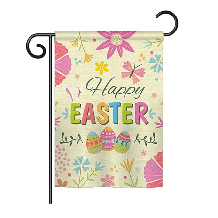 Ornament Collection - Happy Easter Colourful Flowers Spring - Seasonal Easter Impressions Decorative Vertical Garden Flag 13
