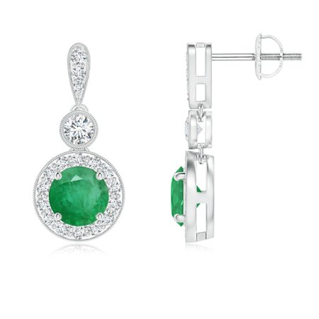 Mother's Day Jewelry Sale - Milgrain-Edged Emerald and Diamond Halo Dangle Earrings in 14K White Gold (5mm Emerald) - SE1065ED-WG-A-5