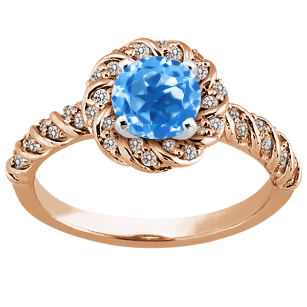1.98 Ct Round Swiss Blue Topaz 18K Rose Gold Ring by
