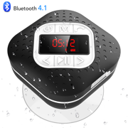 Agptek Waterproof Bluetooth Speaker Shower Radio Led Screen Wireless Suction Cup With Microphone Fm