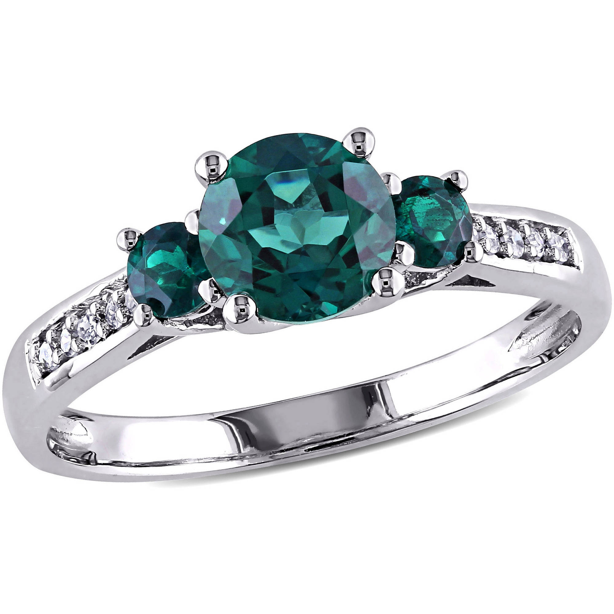 Tangelo 1 Carat T.G.W. Created Emerald and Diamond-Accent 10kt White Gold Three-Stone Ring