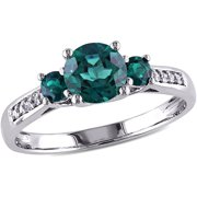 1 Carat T.G.W. Created Emerald and Diamond-Accent 10kt White Gold Three-Stone Ring