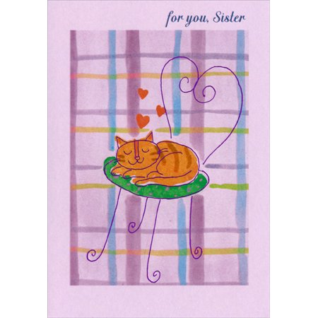 Designer Greetings Sleeping Cat on Chair: Sister Mother's Day Card