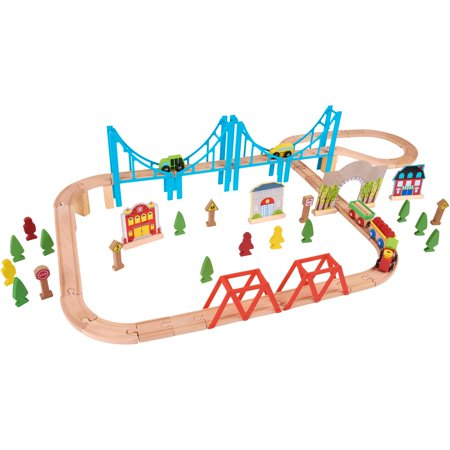 Spark. Create. Imagine 75-Piece Natural & Color Wooden Train Playset ...