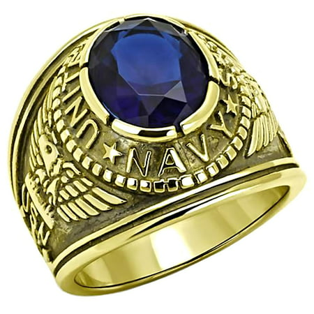Trustmark Mens 5.0ct Simulated Sapphire USA Navy Stainless Steel IP 14K Gold Military Signet Ring, Navy G sz 12.0
