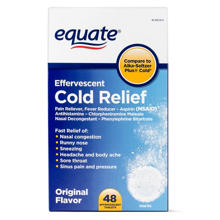 Equate Effervescent Cold Relief Tablets, 325 mg, 48 Count