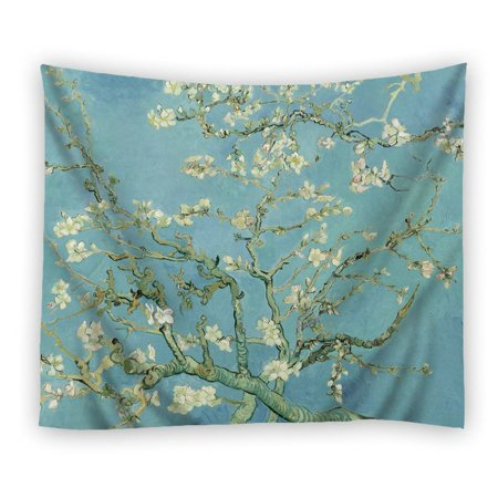 POPCreation Almond Blossom Tapestry Polyester Fabric Tapestries Wall Art Hanging 60x80 Inches