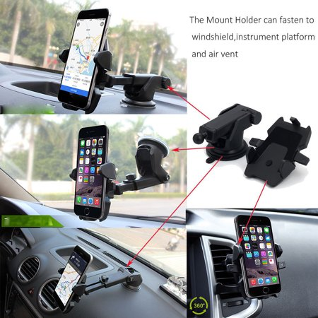 Black 360°Car Holder Windshield Mount Bracket For Mobile Cell Phone iPhone Samsung GPS (Cell Phone Bracket)