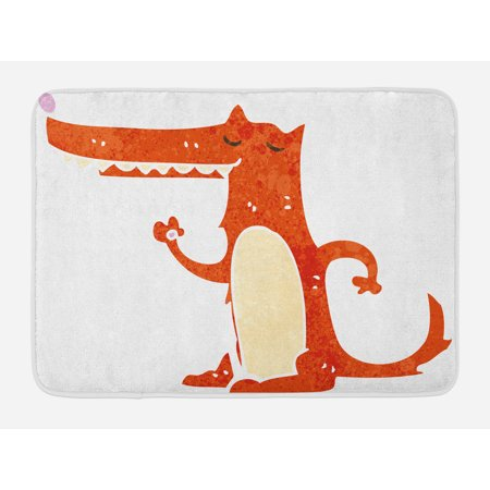 Fox Bath Mat, Retro Style Cartoon Hand Drawn Funny Mascot Watercolor Grunge Artwork, Non-Slip Plush Mat Bathroom Kitchen Laundry Room Decor, 29.5 X 17.5 Inches, Burnt Sienna White Cream, -