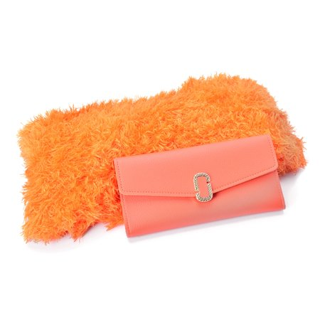 Scarfs Orange 100% Acrylic Magic One Size and Matching Faux Leather Envelope Wallet ()
