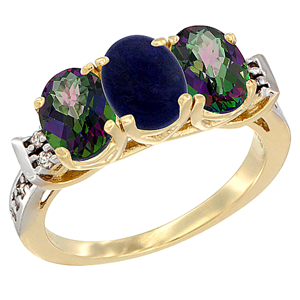 14K Yellow Gold Natural Lapis & Mystic Topaz Sides Ring 3-Stone 7x5 mm Oval Diamond Accent, sizes 5 10 by WorldJewels